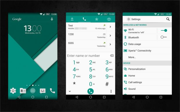 Xperia-Android-5.0-L-Material-Design-Emerald-Theme