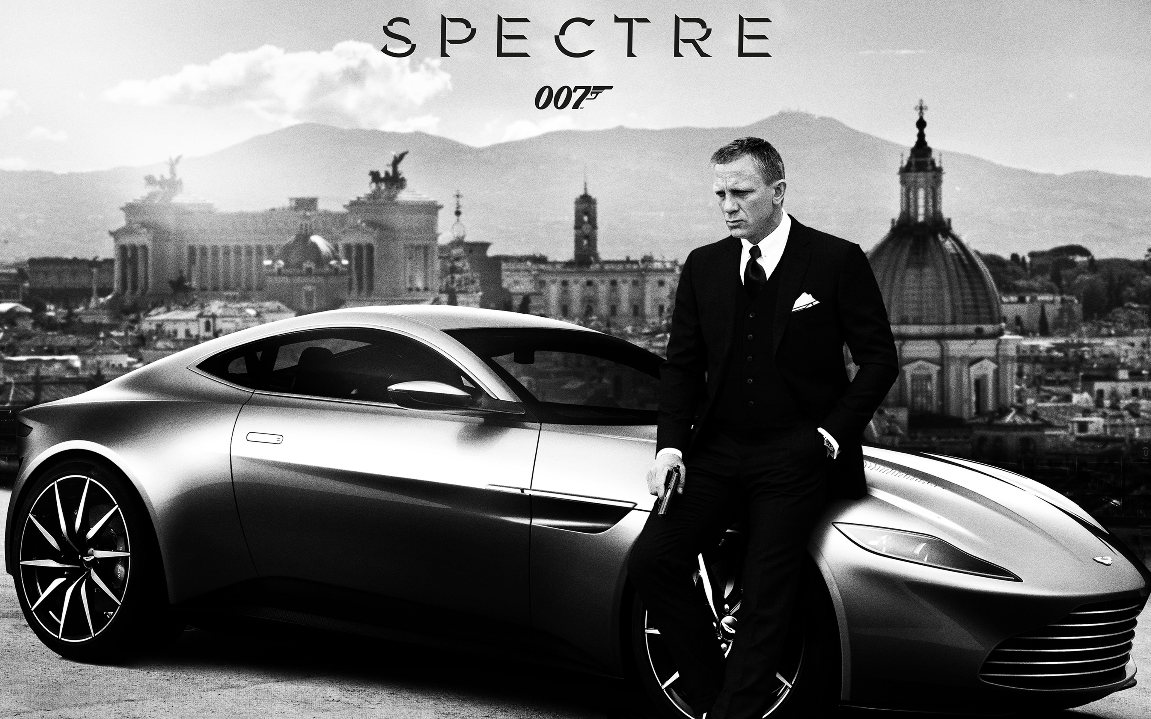 Spectre-Movie-Daniel-Craig-Aston-Martin-DB10-BLack-And-White-WallpapersByte-com-3840x2400