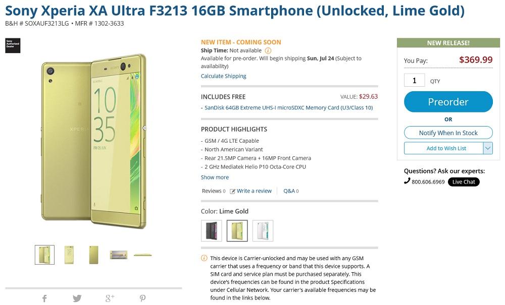Sony Xperia XA Ultra F3213 16GB Smartphone