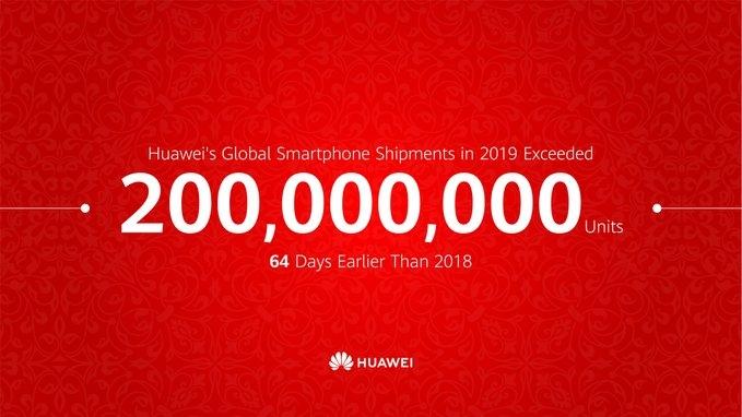 فروش بیش از 200 میلیون گوشی هوشمند توسط هواوی در سال 2019